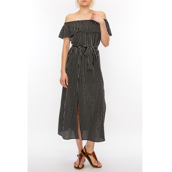 Palm Beach Boutique Dresses Black And White Striped Maxi